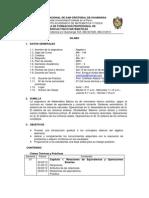 Silabo Del Curso Algebra I Semestre 2001-II