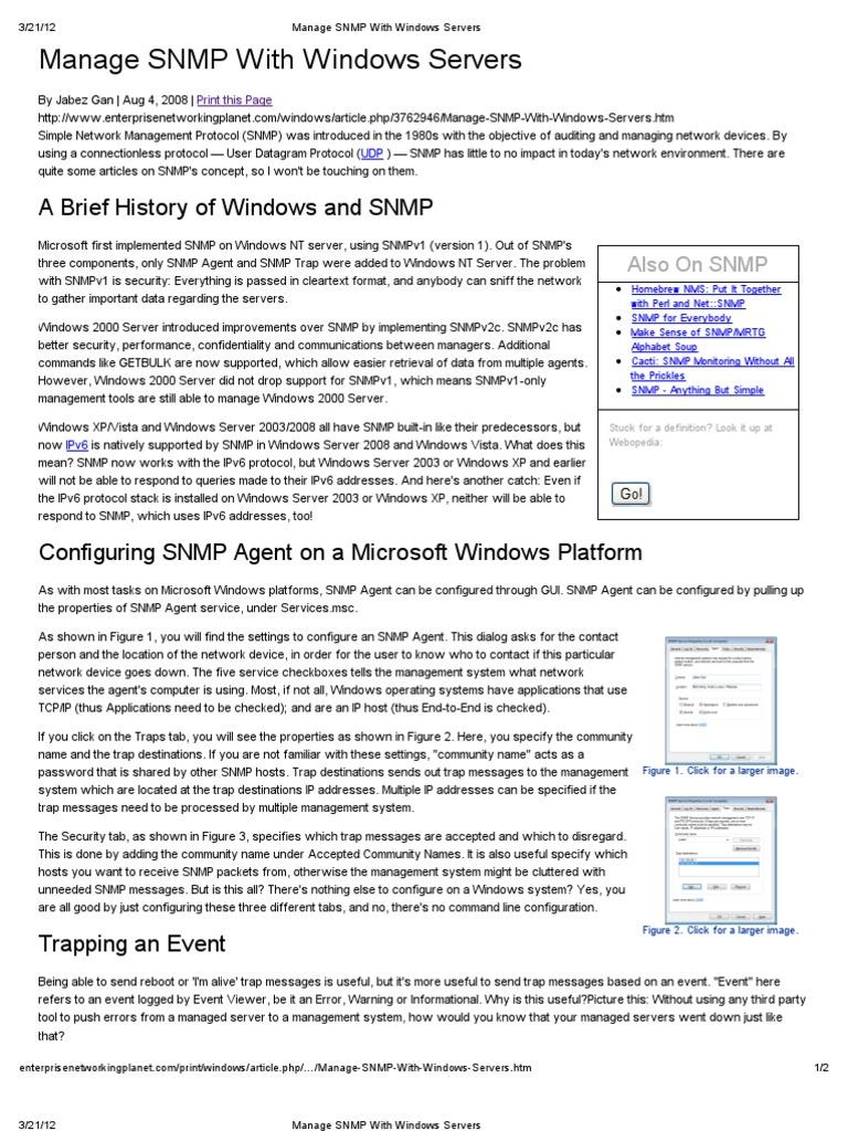 Manage SNMP With Windows Servers | Ip Address | I Pv6