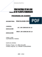 Programa de Psicología Evolutiva I