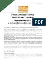 Programma elettorale del Candidato Sindaco Marco Invernizzi