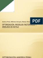 Optimización, Modelos Factoriales y Análisis de Estilo