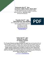 Showroom Schedule April 3rd, 2012