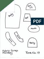 Fabric Scrap Monkey Pattern