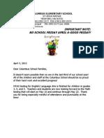 April 2012 Columbus Elementary Principal's Letter