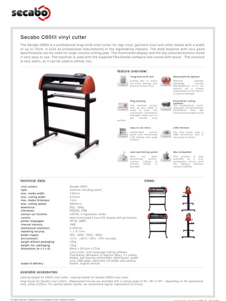 Secabo c60iii Vinyl Cutter-data Sheet | Usb | Computer Hardware