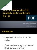 La Economía verde en el contexto de la cumbre Río+20 - Rodolfo Bejarano