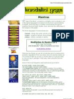 Kundalini Yoga - Popular Mantras