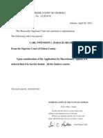 Swensson v Obama, Application for Discretionary Appeal Denied, Georgia Supreme Court, 4-4-2012