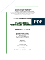 Plan de Clase Ingles Historia Enfermeria