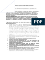 Requerimientos organizacionales de la capacitación