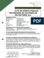 SANTA FE VALORES - Prospecto de Oferta Publica Emisión de Acciones Retratorec