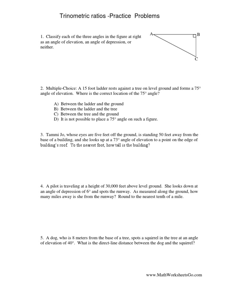 Ttrignometric Ratios Real World Sohcahtoa Worksheet Ans Etz – Angle of Elevation Worksheet