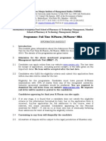 Instruction Sheet M Pharma M Pharm MBA 2012