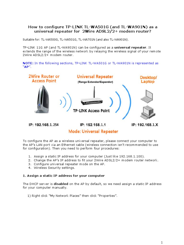 TL-WA501G and TL-WA901N Settings for 2Wire Modem Router | Computer ...