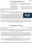 Pesach 2012 Dayenu and Challenge of Freedom