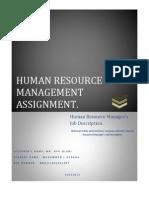 HUMAN RESOURCE MANAGER'S JOB DISCRIPTION SAMPLE