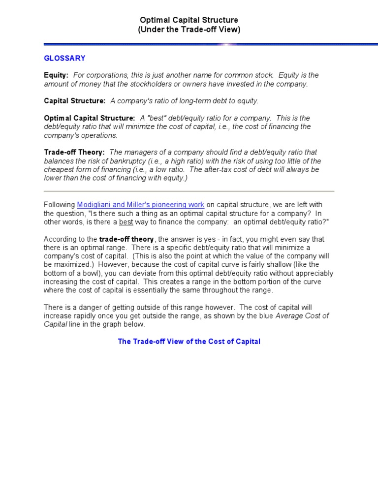 optimal capital structure capital structure cost of capital
