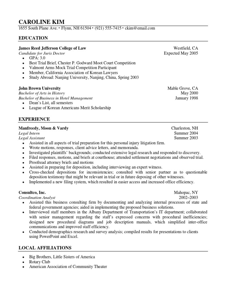 law student resume sample  deposition law  lawyer