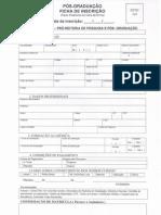 Ficha de Inscrição Especialização