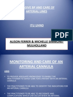 The Monitoring and Care of an Arterial Cannula