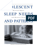 NSF -- Adolescent Sleep Needs and Patterns