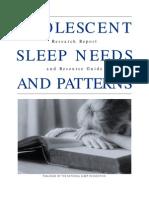 NSF -- Adolescent Sleep Needs and Patterns