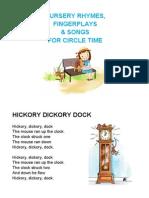 Nursery Rhymes, Songs & Fingerplays Printable Cards
