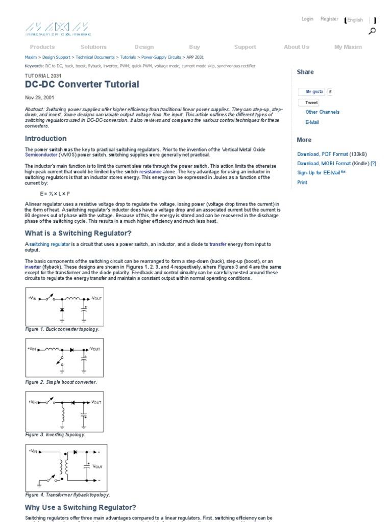 Dc Converter Tutorial Maxim Rectifier Diode Simple Boost Circuit
