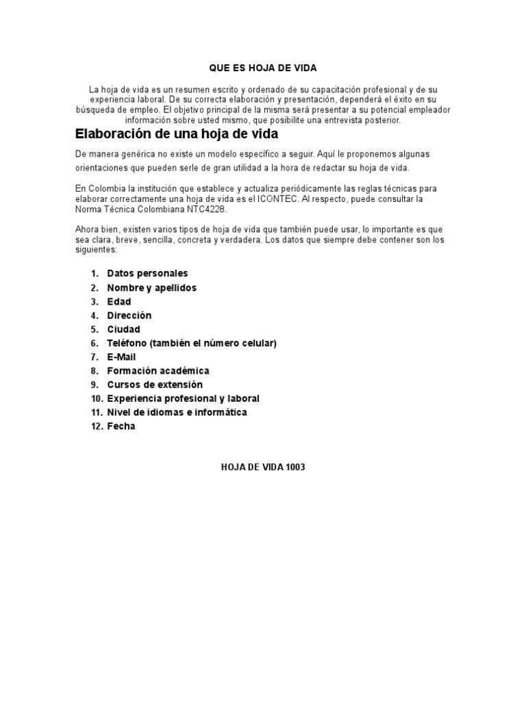 Excelente Formato De Muestra De Hoja De Vida De Una Página Colección ...