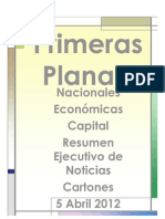 Primeras Planas Nacionales y Cartones 5 Abril 2012
