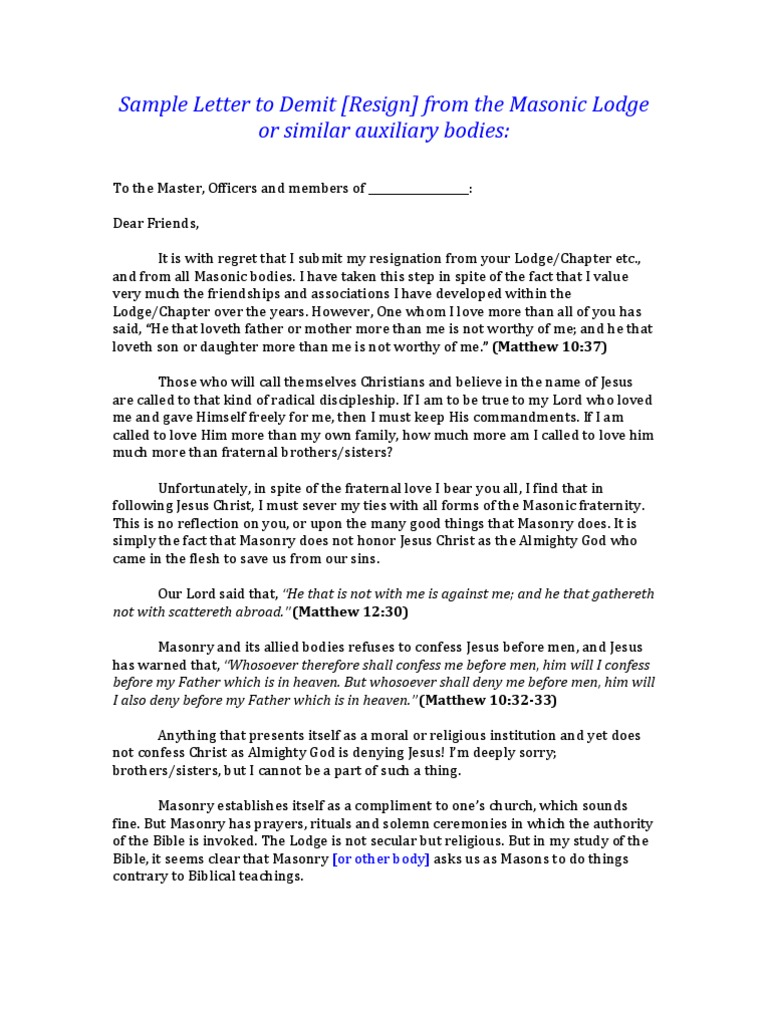 Sample letter to demit from the masonic lodge or similar bodies2 sample letter to demit from the masonic lodge or similar bodies2 freemasonry gospel of matthew spiritdancerdesigns Images