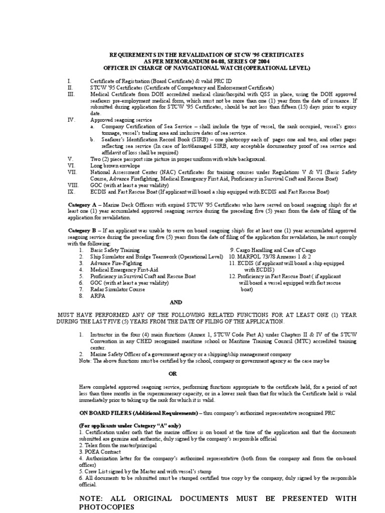 Requirements In The Revalidation Of Stcw Deckol Sailor Ships