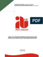 Tabela de Honorários Mínimos para serviços de Arquitetura e Urbanismo, do IAB-SE
