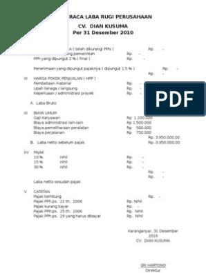 contoh laporan laba rugi yang ada pajaknya
