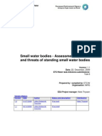 Assessment of Status and Threats of Standing Small Water Bodies
