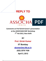 REPLY TO - Comments on Prof Girish Kumar's presentation on Cell Tower Radiation at ASSOCHAM