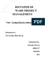 Testing Plan for Software Project