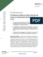 EL GOBIERNO DESTINA 3944 MILLONES A LA SECRETARIA DE ESTADO DE I+D+i