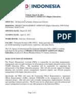 EDU - Project Management Assistant (Higher) FSN-8