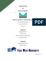 Ratio Analysis on Monno Ceramics