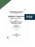 Ferrand, Gabriel. 1902. Les musulmans à Madagascar et aux Comores. Troisième partie. Antankarana, sakalava, migrations arabes.