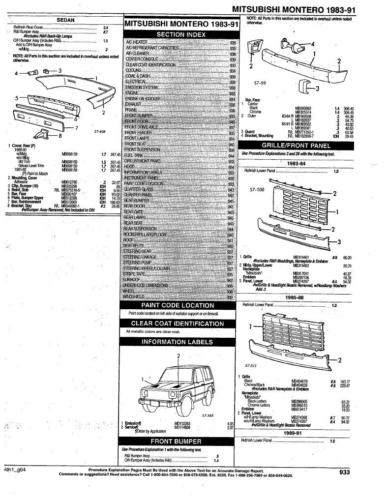 1983 91 Montero Parts List Basic