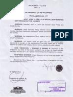 Proclamation 150 s 2012