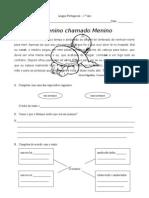 O Menino Chamado Menino - Ficha de Língua Portuguesa - 2.º ano