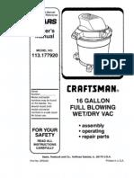 Craftsman 16GalWetDryVac 113.177920