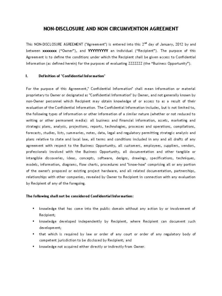 Non Disclosure Non Circumvention Agreement Form