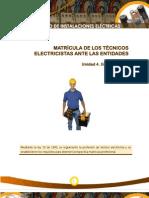 Matricula de Los Tecnicos Electricistas