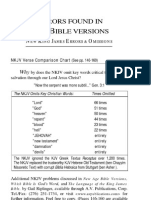 New King James Bible Version Errors & Omissions | New King