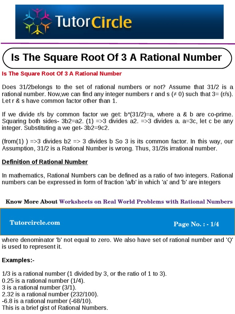 Is The Square Root Of 3 A Rational Number Rational Number Fraction  (mathematics)
