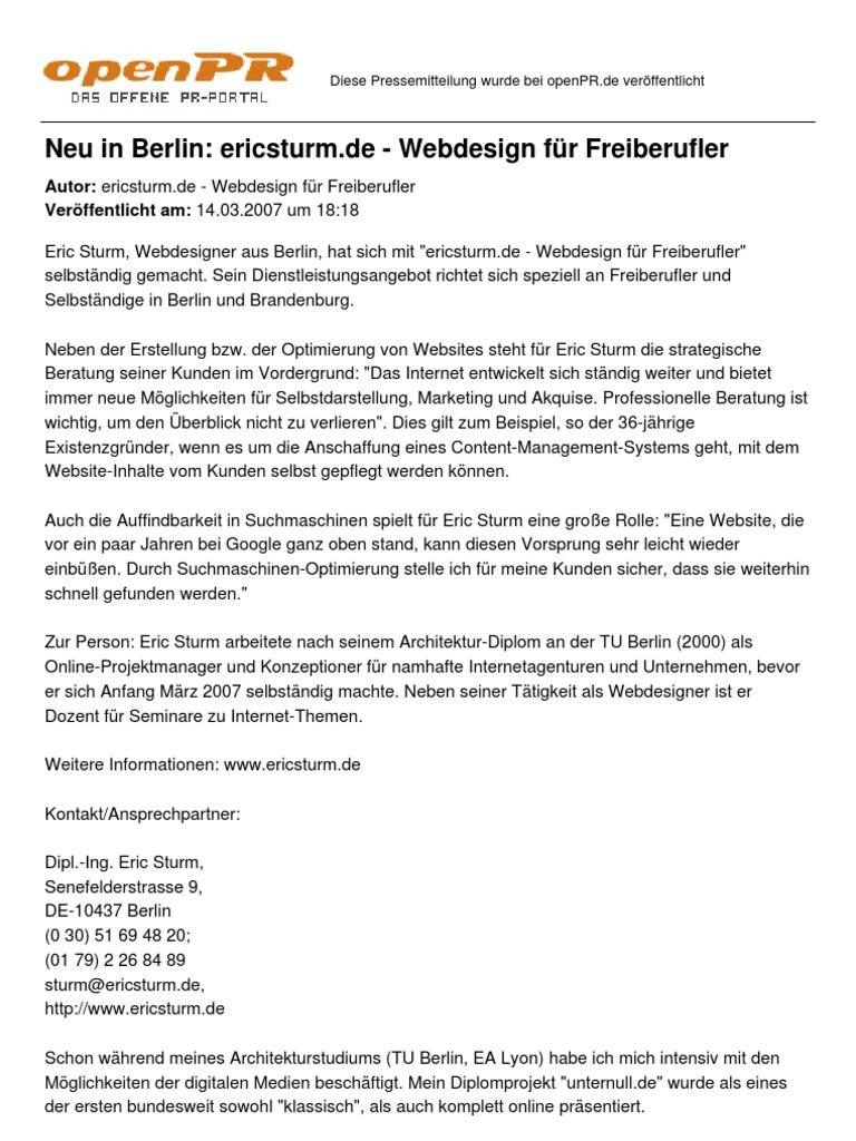 Neu In Berlin Ericsturm De Webdesign Fuer Freiberufler